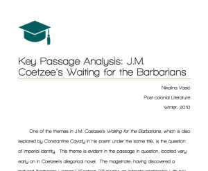 KeyPassageAnalysis-J.M.CoetzeesWaitingfortheBarbarians