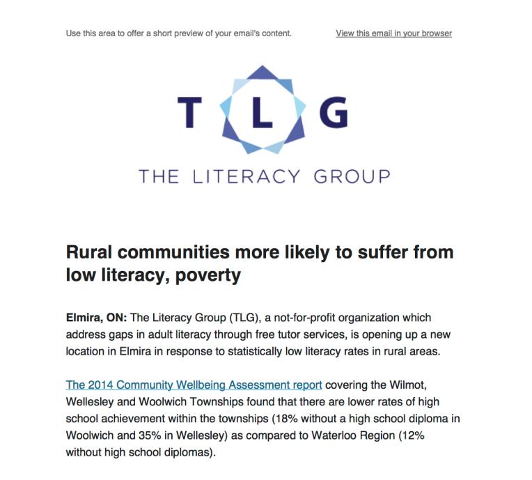 The Literacy Group - Media Release - Elmira 2015
