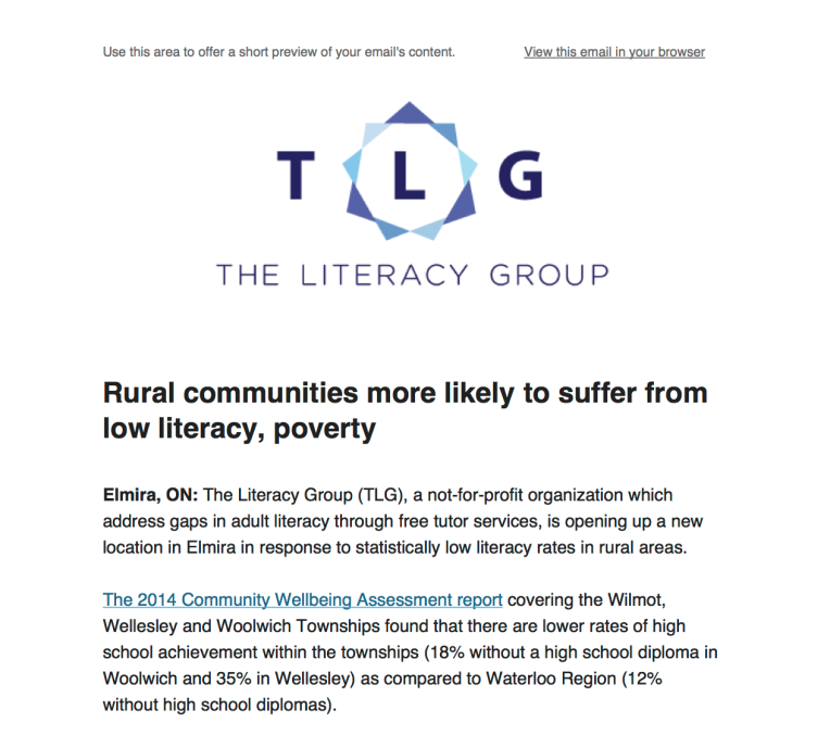 The Literacy Group - Media Release - Elmira 2015